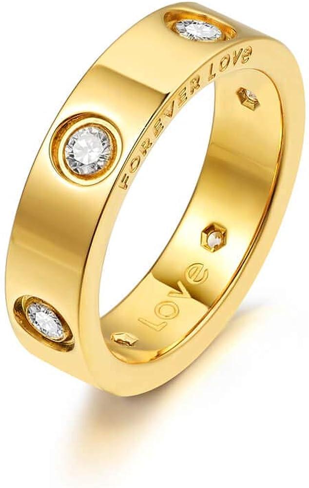 Nireus 18K Gold Plated Promise Love Rings for Women | Engagement Wedding Bands