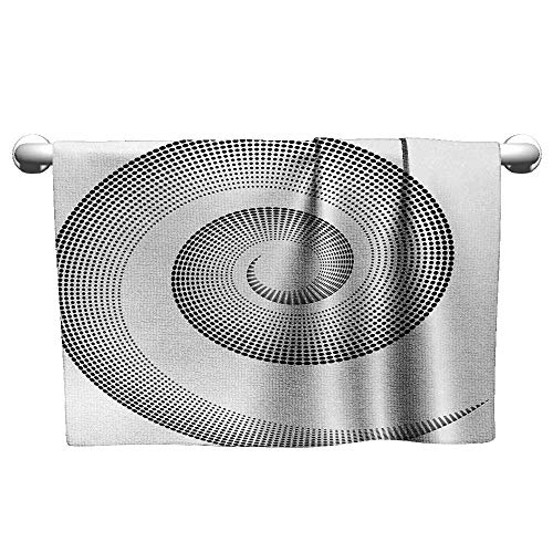 Spires,Small Bath Towels Spiral Dimensional Curve Turns Around an Axis Rotary Parallel to Ring Center Design Image Decorative Towels Black W 24