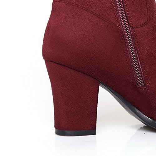 Boots Imitated WeiPoot Claret and Women's with Heels Chunky Suede Zippers Closed Toe ppgUnqwaB