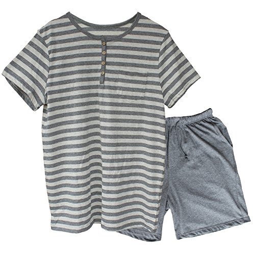(Men's Pajama Set Summer Yoga Sleepwear Short Sleeve Striped Cotton Jersey Knit Comfort Casual Shorts & Shirt PJ Set Medium)