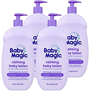 Baby Magic Calming Baby Lotion | 30oz (Pack of 4) | Lavender & Chamomile | Free of Parabens, Phthalates, Sulfates and Dyes