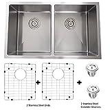 32 Inch Undermount 50/50 Deep Double Bowl 18 Gauge Stainless Steel Modern Kitchen Sink,S-301G