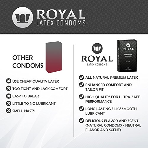 Royal Condoms - Ultra Thin, All Natural, Organic, Gluten Free, Vegan, Latex Covered in Odor Free Water Based Lube for Long Lasting Extended Pleasure, 20 Count