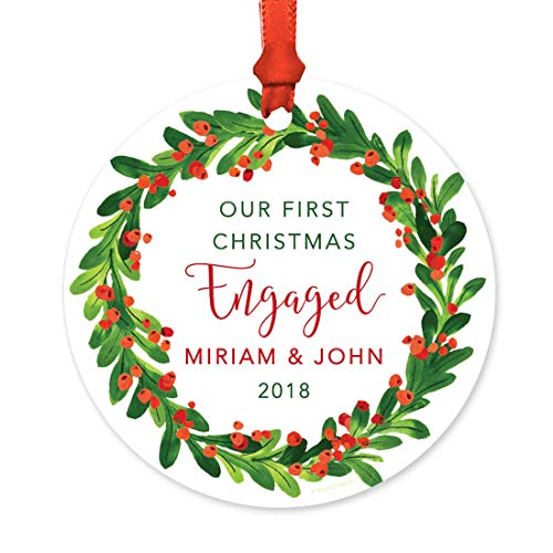 ized Wedding Engagement Round Metal Christmas Ornament, Our First Christmas Engaged, Miriam & John 2019, Red Green Holiday Wreath, 1-Pack, Includes Ribbon and Gift Bag, Custom ()