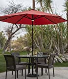 Cheap Offset Patio Umbrella,Large Outdoor Umbrella, Sun Shades For Patios, 9 ft. Steel Solar Lighted, Tuscan Color.Keep Yourself Shaded While Enjoying The Outdoors
