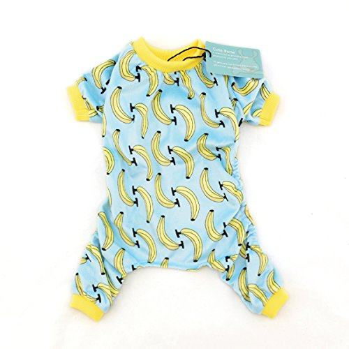 CuteBone Dog Pajamas Banana Dog Apparel Dog Jumpsuit Pet Clothes Pajamas (Blue Dog Puppy Apparel)