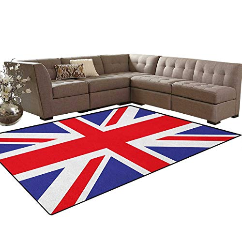 Rug By Union - Union Jack,Rug,Classic Traditional Flag United Kingdom Modern British Loyalty Symbol,Dining Room Home Bedroom Carpet Floor Mat,Royal Blue Red White Size:6'x9'
