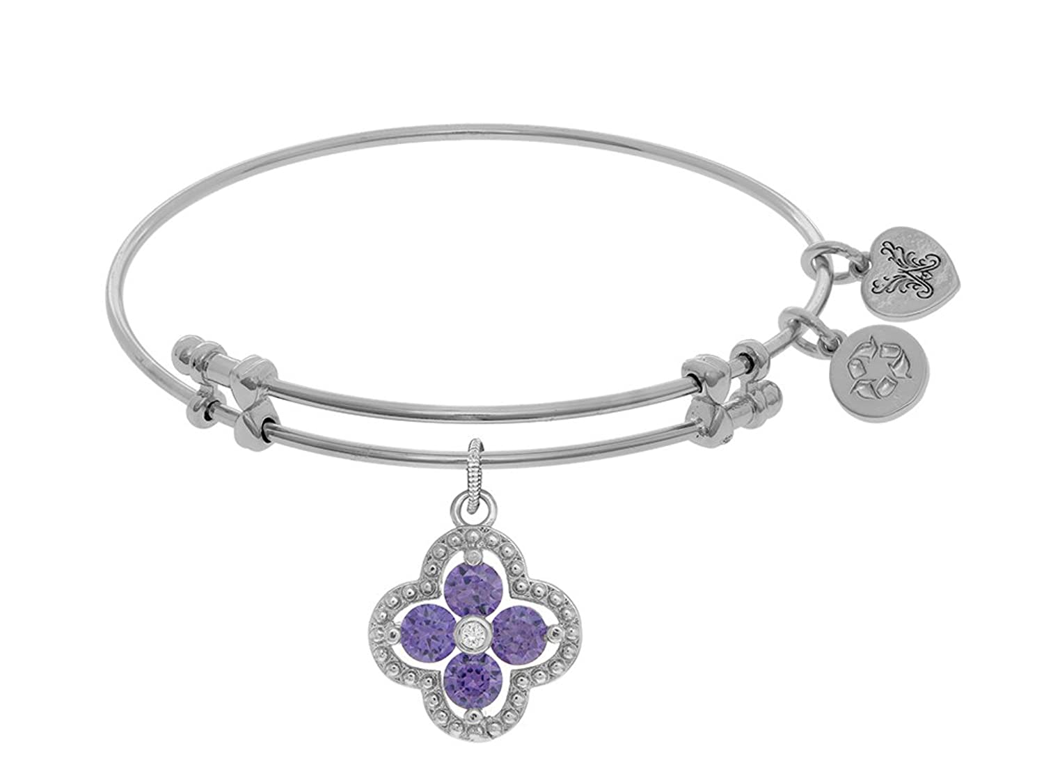 Angelica Collection Brass White Charm Purple+white CZ On White Bangle