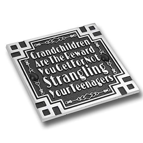 Sand Art Cross - The Metal Foundry Art Deco Décor Wall Art Metal Plaque with Inspirational Quote 'Grandchildren'. Home Accessory Gift for Parents Or Friends for Wedding, Anniversary, Birthday Or Christmas