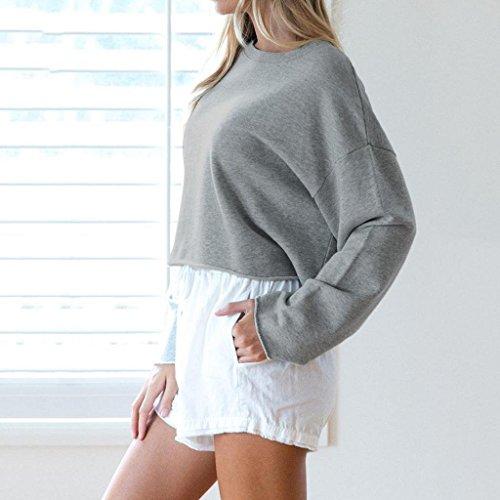 Femmes Long Casual Chic Tops Gris Dames Sleevel Shirt Chemise Blouse T Trydoit pAqEXandX