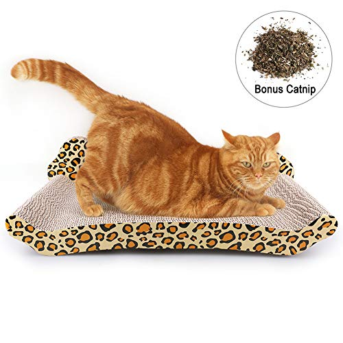(PrimePets Cat Scratcher Lounge, Corrugated Cat Cardboard Couch, Scratch Bed Reversible Scratching Lounger Sofa with Catnip, Kitty Claw Furniture Protecting(Large))
