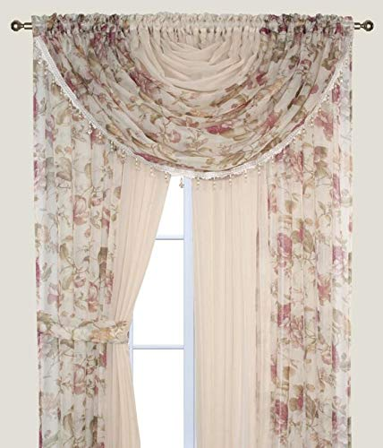 Complete Window Sheer Voile Curtain Panel Set with 4 Attached Panels (55x84 Each) and 2 Attached Valances with Beads and 2 Tiebacks - Easy Installation - Multicolor Floral Rose and Solid Beige (Sale Curtain Panels For)
