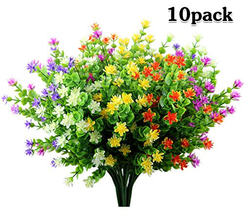 LUCKY SNAIL 10 Pcs Artificial Flowers, Fake Outdoor Flowers UV Resistant, Lifelike Plastic Flowers for Indoor Outdoors Home Office Garden Wedding Sidewalk Trim Decor(Mixture) (Best Artificial Flowers For Outdoors)