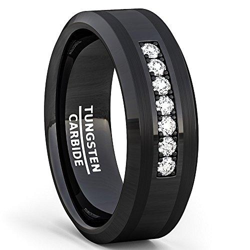 Duke Collections 8mm Black Tungsten Carbide Ring 7 Cubic Zircon Trillion Mens Wedding Comfort Fit (9.5)