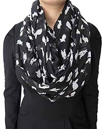 Lina & Lily Cute Rabbit Bunny Print Infinity Scarf Lightweight (Large Size)