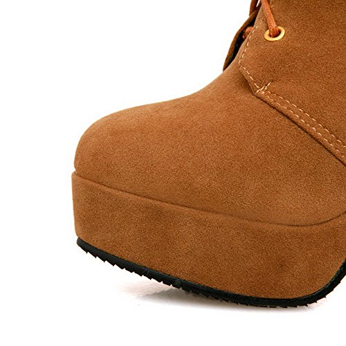 Spikes Womens AmoonyFashion Heels Closed Stilettos Buckle Round PU Boots Solid Toe High Yellow Microfiber with dq1Xrqw