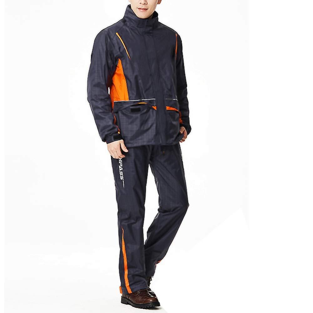 レインコート レインポンチョ レインスーツ レインコートレインパンツスーツ防水分割の男性と女性のアウトドアハイキングレインコートに乗って大人の分割 ZHANGQIANG (色 : Dark blue/orange, サイズ さいず : XXL) B07PQVTRZ1 Dark blue/orange XXL