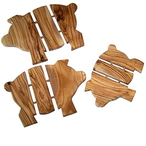 Pigs/Hogs Trivets Set - Hand Carved Olive Wood Trivet Set for Hot Plate - Asfour Outlet Special (6.5, 8 and 9 Inches)