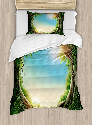 Ambesonne Tree Duvet Cover Set, Enchanted Forest in Spring Fresh Growth Foliage with Blossoms Fairytale Fantasy, Decorative 2 Piece Bedding Set with 1 Pillow Sham, Twin Size, Green - Cover Enchanted Duvet Set