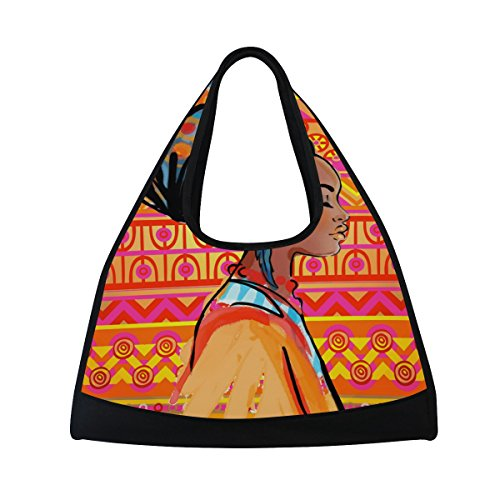Gym Bag Sports Holdall Africa Woman Art Canvas Shoulder Bag Overnight Travel Bag for Men and Women by AHOMY
