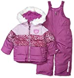 Skechers Girls' Big 2-Piece Heavyweight Snowsuit, Shy Violet Purple Leopard, 10/12
