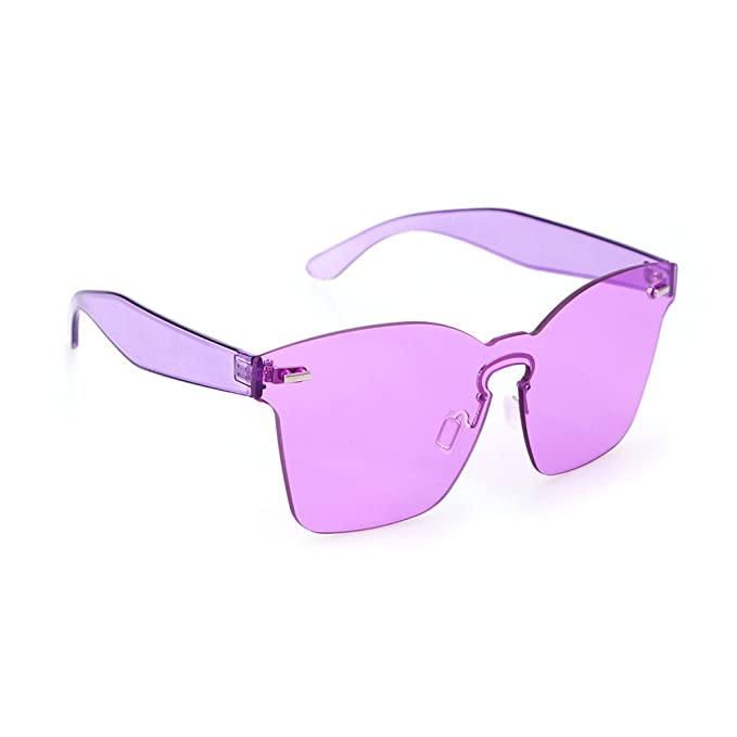OULII Gafas de Sol sin Marco de Color Caramelo de Moda Una ...