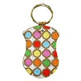 David Jeffery Mobile Bag - Ivory With Multicolor Beads and Ring Handle, 7''H x 5''W.
