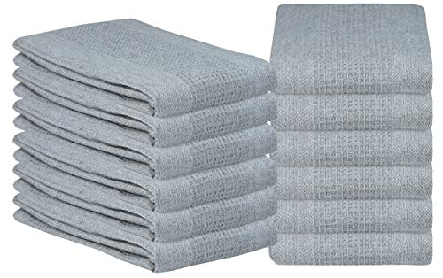 Kitchen Towel 12-Pack 18x28 Waffle Weave Kitchen Dish Towels or Cleaning Towels - Highly Absorbent & Quick Dry - Light Grey ()