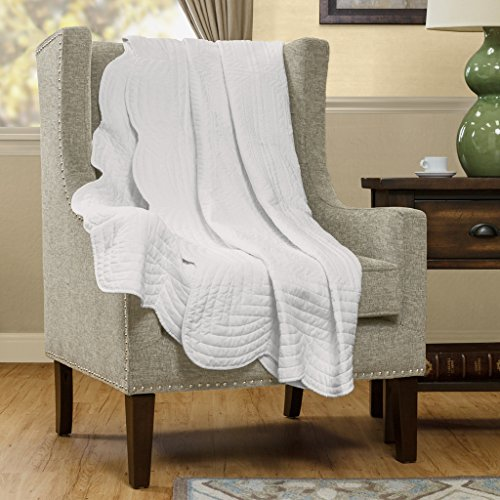 Madison Park - Tuscany Oversized Quilted Super Warm Throw With Cotton Filling - Prewashed Finish - Scalloped Edges - White - 60(W)