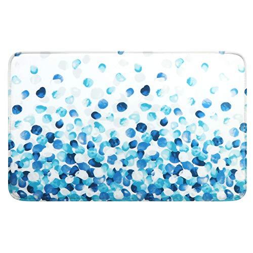 Uphome Ombre Pebbles Memory Foam Bath Mat 20x31 inch Blue Cobble Stone Print Non Slip Bathroom Rugs Soft Flannel Entry Carpet Machine Washable Kitchen Floor Rug (Mat Foam Memory Bath)