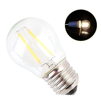 E27 G45 2W LED Retro Potente Brillante Filamento Lámpara de Cristal Bombilla Transparente, Con 2