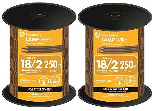 (Southwire SPT-1 18/2 Lamp Wire, Stranded, 2 spools of 250 feet (500 feet total) (Brown))