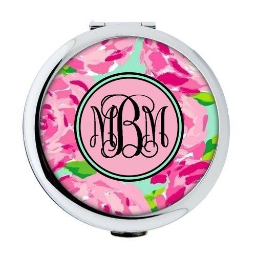 iFUOFF Compact Makeup Mirror, Hot Pink Rose VS Circle Monogrammed Round Ultra-thin 0.8cm Compact Makeup Mirror ()