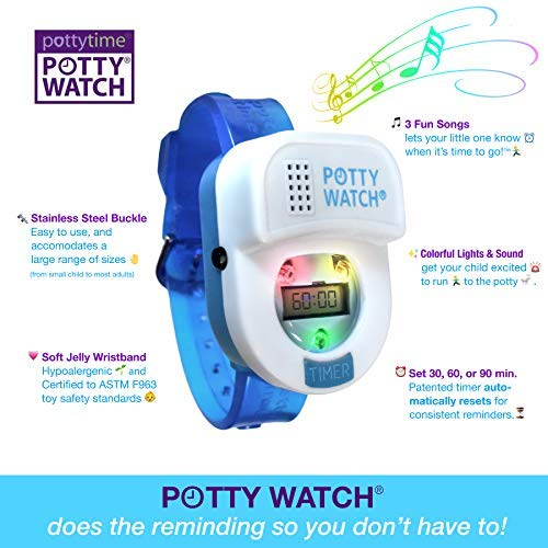 Potty Time: The Original Potty Watch | Newly Improved 2020 ~ Water Resistant | Toddler Toilet Training Aid, Warranty Included (Set Automatic Timers with Music for Gentle Reminders), Blue