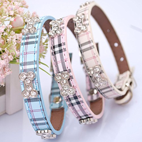 Blue Plaid Leather Dog Collar - Lushpetz Tartan Plaid Dog Collar Rhinestone Bones Available in Small, Medium & Large Sizes Pink Blue Beige (Small, Blue)