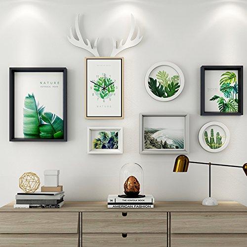 Das Wohnzimmer dekorativen Wandmalereien im Restaurant ist eine Kombination aus 6 Box + Hirschkopf Uhren schwarz-weiß-grau Mash-ups