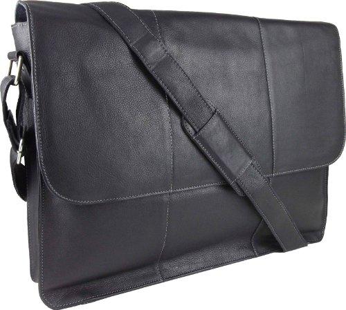"UNICORN Real Leather 17"" Laptop bag ipad, Ebook or Tablets holder - Black #7G"