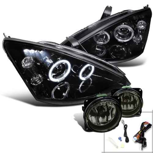 Focus Headlights Svt - Ford Focus SVT Glossy Black Dual Halo LED Projector Headlights+Smoke Fog Lamps