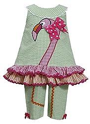 Baby-Girls Infant Green Pink Flamingo Seersucker Top/Capri Pants Set, Green, 12M