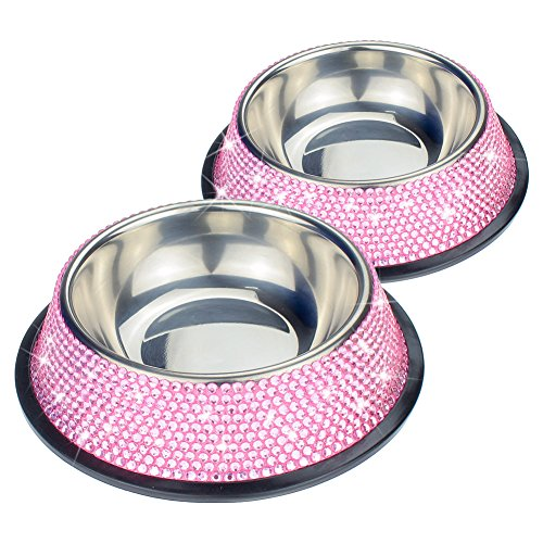 "SAVORI 10 Rows Handmade Sparkling Rhinestones Stable Dog Bowl Removable 200ML ""3 Ounce Stainless Steel Pet Bowl Feeder Bowl for Puppies Small Dogs Ca…"