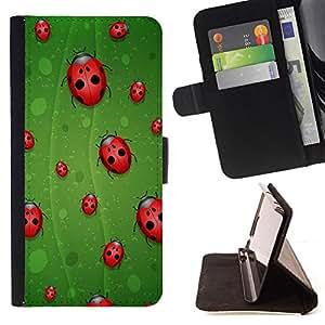 BullDog Case - FOR/LG G3 / - / ladybug leaf green red art nature eco spring bug /- Monedero de cuero de la PU Llevar cubierta de la caja con el ID Credit Card Slots Flip funda de cuer