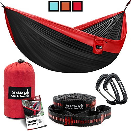 Double Camping Hammock with Multi Loops Tree Straps & Aluminum Carabiners - Two People or Single Person Parachute Nylon Hammocks - Lightweight Portable Hammock for Backpacking, Hiking, Beach & Yard