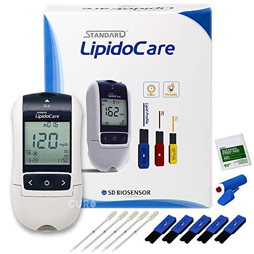 Blood Cholesterol Test Home Kit Professional Grade Lipid (All-in-One 10ea x Profile Cholesterol Test Strips Included)