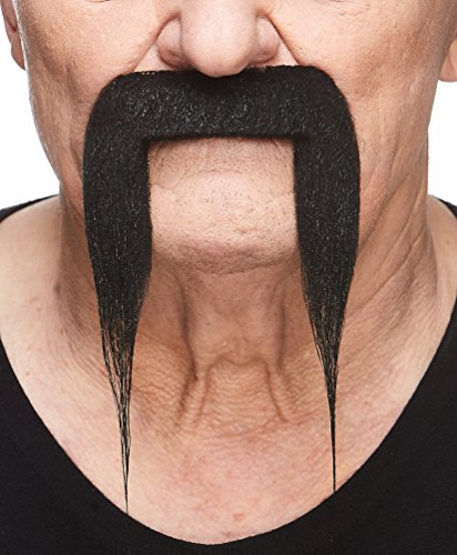Mustaches Self Adhesive Fake Mustache, Novelty, Fu Manchu False Facial Hair, Costume Accessory for Adults, Black Color -