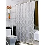 Uforme Modern Design Damask Shower Curtain PVC-free Non-toxic Bath Curtain Liner Water Repellent and Mildew Proof with Metal Grommets, Silver Grey, 72 Inch By 96 Inch