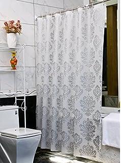 Uforme Modern Design Damask Shower Curtain PVC Free Non Toxic Bath Curtain  Liner Water