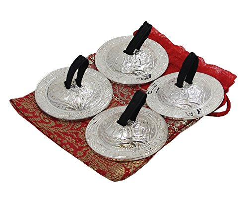 DharmaObjects Belly Dancing Silver OM Namah Shivaya Pro Finger Cymbals (Middle Eastern Percussion Instruments)