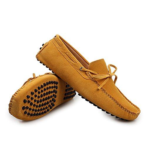 Sunrolan Mens Fashion Dress Casual Leather Flats Driving Mocassino Scarpe Fannullone Ylw2081yellow