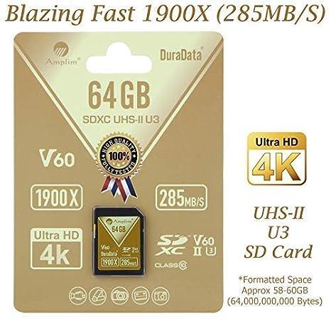 Amplim Uhs-II Tarjeta SD: Ultra Fast 285 MB/S (1900X), V60 ...