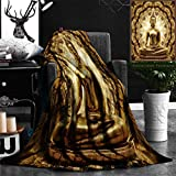 "Nalagoo Unique Custom Flannel Blankets Thai Golden Buddha On Oriental Gold Ornament Texture Background Super Soft Blanketry for Bed Couch, Throw Blanket 50"" x 60"""